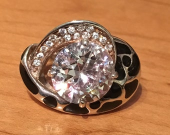 13.5 Grams STERLING SILVER Solitaire Cubic Zirconia Cz BLING Heavy 13.5 Grams Ring Size 6.5