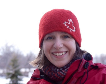 Unisex Red Toque with Maple Leaf - warm felted wool winter hat Canada hat