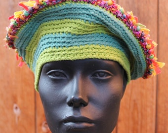 Orangy Tufted Crocheted Hat with Stretchy Green Stripes...
