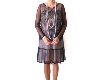 Retro Flapper Dress, Roaring 20s Dress, Great Gatsby, Downton Abbey, Flapper Costume, Custom Size, Chiffon, Black,Lace, 1920s, Gothic