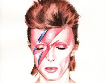 David Bowie. Aladdin Sane Album Cover. Original Watercolor. 9x12.