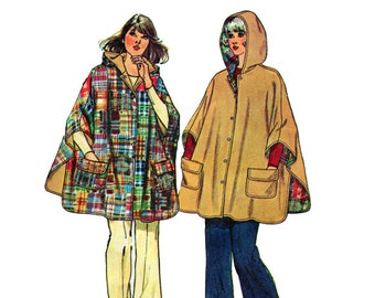Reversible Hooded Slit Poncho With Pockets Women's Sewing Pattern Vintage - One Size - Simplicity 6630 G