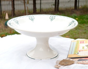 Old French Ironstone Transferware Cake Stand - Moulin Des Loups & Hamage Nord - Handmade Verdan Lambrequin Decor - Table Decor