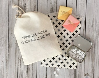 """Hangover Kit Bags - """"Seemed like such a good idea at the time"""" - Paper Hangover Kits - Bachelorette party Favors - Bachelor Party Favors"""