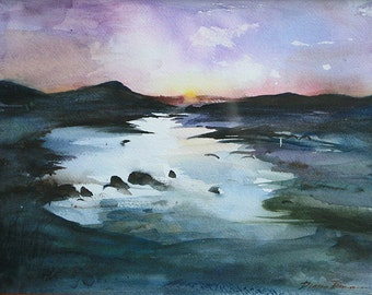 "Landscape no.1 / 11"" x 14"" original watercolor painting"