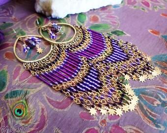 """5"""" Long Purple Beaded Indian Boho Celestial Chandelier Earrings, Exotic Hippie Jewelry, Gold Stars, Bohemian Jewelry, Clip-On Option"""