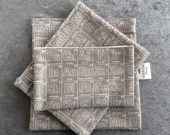 Reusable Sandwich Bags, Snack Bags, Food Safe Fabric Lining Periodic Table