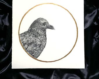 American Crow Corn Moon September - Original Graphite Drawing with Gold Leaf - Animal Portrait Inspired by Native American Full Moon Names
