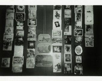 "Vintage Photo ""Wall of Christmas Greetings"" Snapshot Antique Photo Old Black & White Photograph Found Paper Ephemera Vernacular - 78"