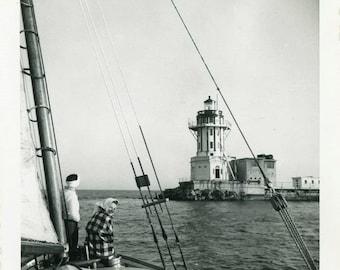 "Vintage Photo ""Lighthouse Onlookers"" Boat Sailing Snapshot Antique Photo Old Black & White Photograph Found Paper Ephemera Vernacular - 183"