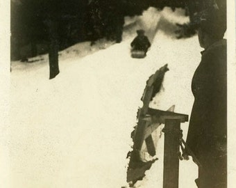 "Vintage Photo ""Here Comes the Sled Racer"" Snapshot Antique Photo Old Black & White Photograph Found Paper Ephemera Vernacular - 60"
