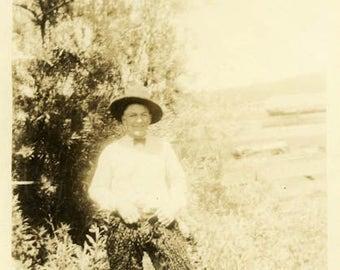 "Vintage Photo ""The Cowboy and His Fancy Pants"" Snapshot Antique Photo Old Black & White Photograph Found Paper Ephemera Vernacular - 134"