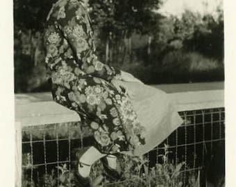 "Vintage Photo ""Admiring the Sun"" Girl Floral Print Old Snapshot Antique Photo Black & White Photograph Found Paper Ephemera Vernacular - 115"