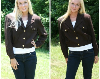 Cropped Brown Wool Bomber Style Vtg Gold Button Front Short Jacket sz S M