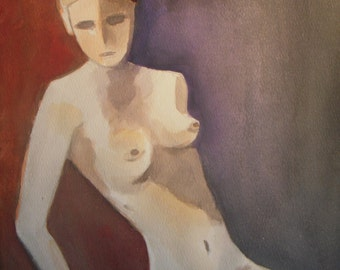 Nude painting - abstract woman nude - watercolor painting - woman - figurative painting - female nude - original painting - wall art