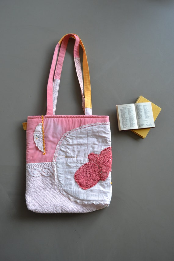 tattered pink and yellow tote, yellow and pink book tote, shabby tote bag, patchwork market bag, girly pink tote