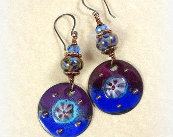 Purple and Blue Artisan Earrings - Artisan Charms and Lampwork Beads - Boho Artisan Lampwork Earrings, Plum and Sapphire
