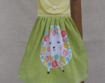 Easter Lamb Kitchen Hanging Towel, Floral Easter Towel, Green Kitchen Towel
