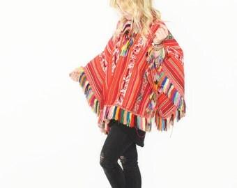 Antique Peruvian  Ceremonial Poncho , Ethnic Textile Poncho , Tribal Fringed Poncho
