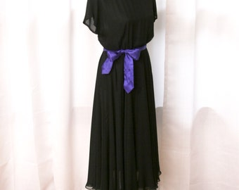 1980's Black Semi-Sheer Chiffon Cocktail Dress, By Ciao Ltd.,  Size Medium to Large