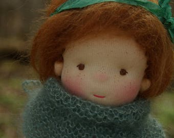"""Imgrid Waldorf Inspired Doll OOAK Doll  by Atelier Lavendel Natural Fibers Doll Cloth Doll 9"""" ECO friendly"""