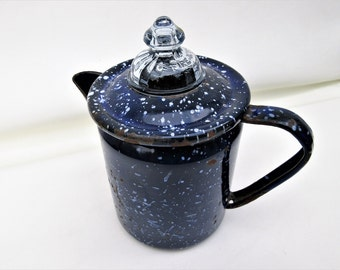 Vintage Enamel Coffee Pot, Blue White Graniteware, Fire King Glass Lid