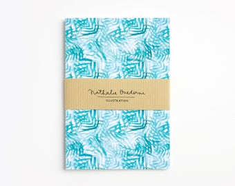 Tropical notebook, turquoise pocket journal, palm leaf small notebook, tropical leaves notebook, lined pages notebook unlined pages notebook