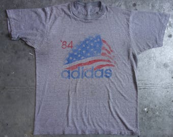 vintage 1984 Adidas shirt-beautifully worn, sheer and soft-American flag on gray-about M