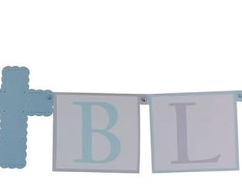 Baptism Decorations Boys,  Baptism Banner, Communion Cross Decorations - Choice of Colors