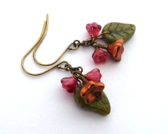 Flower leaf glass earrings, antiqued brass, copper red and green Czech glass beads, Autumn colors, posy dangles, Fall flower jewelry