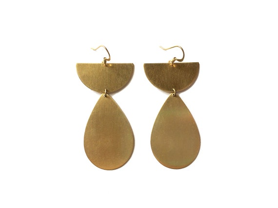 geometric half circle earrings minimal teardrop dangle