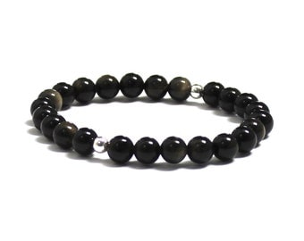Chakra Healing Crystals Black Obsidian Protection Strength Bracelet for Men and Women, Mala Beads, Couples Bracelets Gifts Anniversary Gifts