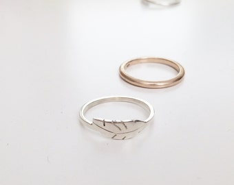 silver feather ring / leaf ring / stacking rings