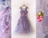 1950s periwinkle blue and lilac crinoline debutane ball gown size xsmall