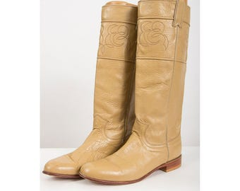 Vintage riding boots / 1980s Justin light brown knee high western style campus boots 8