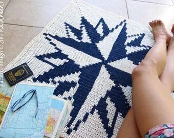 Crochet Rug Pattern - Crochet Tapestry Carpet - Compass Rose Crochet decor Wall Art Tapestry Crochet - Instant DOWNLOAD