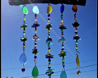 Stacked Beach Glass Wind Chime,  Sun Catcher,  Sea Glass Stacked Chimes,  beach glass windchimes, glass mobile, marbles