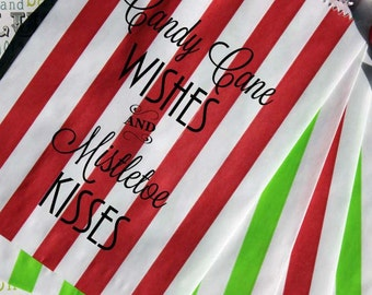 "25 Holiday Party Favor Bags, ""Candy Cane Wishes and Mistletow Kisses"", Wedding Favor Bags, Candy Bags, Popcorn Bags, Cookie Bags, Gift Bags"