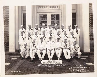 Aviation Mechanics School- 1940s Vintage Photograph- Graduating Class 1941- Norfolk, VA- WW2 Portrait- 8x10- Found Photo- Paper Ephemera