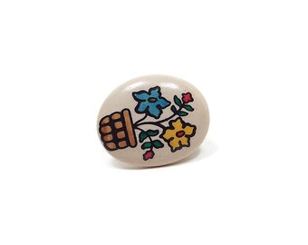 Vintage Flower Tie Tack White Blue Yellow Painted Oval Plastic Retro Floral Jewelry Spring Easter