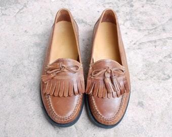 Vintage Mens 11.5m Cole Haan Tan Leather Slip On Fringe Loafers Oxfords Dress Shoes