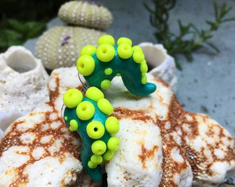 Teal and Yellow Tentacle Earrings- Glow in the dark