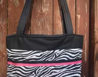 Pink Zebra Canvas Tote Bag