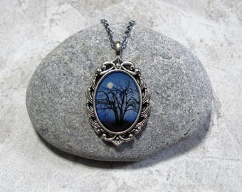 Moonlight Night Full Moon Necklace Antique Silver