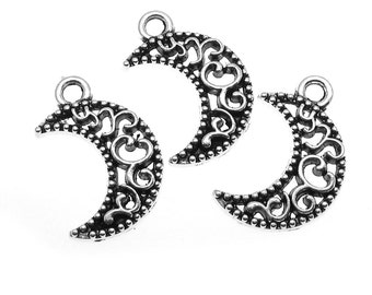 Silver Charms : 10 Antique Silver Filigree Moon Charms | Silver Crescent Moon Pendants -- Lead, Nickel & Cadmium Free 13234.J4N