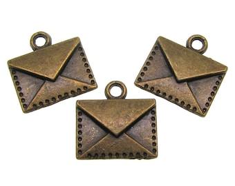 Bronze Charms : 10 Antique Bronze Letter Charms   Brass Ox Envelope Pendants -- Lead, Nickel & Cadmium Free 13731.Q