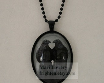 Gothic Black Halloween Pendant Necklace Crow Twins Sisters Art Jewelry with Long Chain