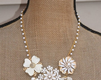 SALE OOAK Milk Glass,Pearl & Rhinestone Repurposed Necklace,Cluster Earring Brooch Necklace,Gold,Upcycled,Floral Brooch,Bib,Statement,Heirlo