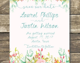 Printed Save The Date - Pink / Blush Floral Watercolor Wedding - Spring Wedding - Summer Wedding - Rustic Wedding - Printed Save The Date