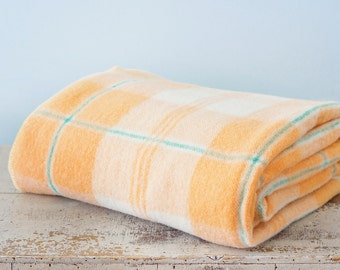 Vintage Striped Plaid Wool Blanket - Cantaloup Orange Green Stripes